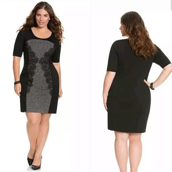 304e24acab3f Lane Bryant Dresses | Lace Panel Black Stretch Sheath Dress | Poshmark